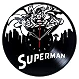 Superman Vinyl Record Wall Clock Fan Art Handmade Decor Unique Decorative Vinyl Clock 12″ (30 cm) For Sale