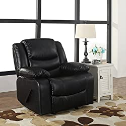 Bonded Leather Rocker Recliner Living Room Chair, Black / Brown (Black)