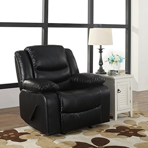 Bonded Leather Rocker Recliner Living Room Chair, Black / Brown (Black) - Black Leather Recliner Rocker