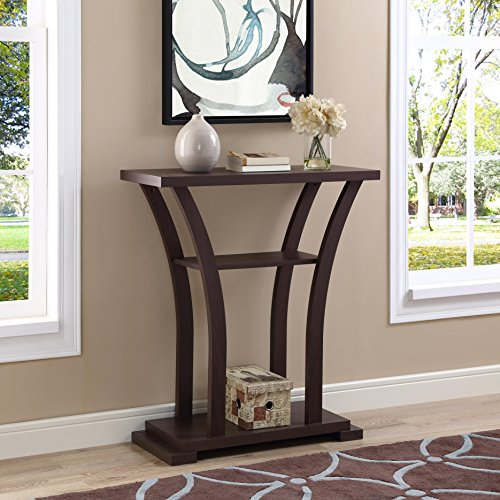 Table Hall Cherry (Cappuccino Finish Hall Console Sofa Entryway Accent Table with Curved Legs)
