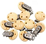 Ocharzy 15Pcs Pacifier Clip Wooden Clip Teething Beads Suspender Clips