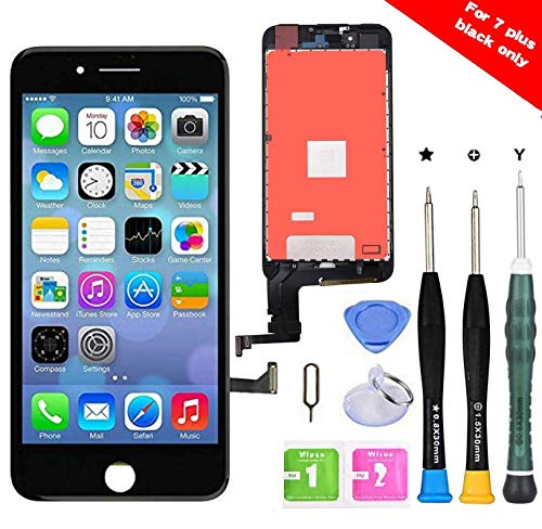 Premium Screen Replacement Compatible with iPhone 7 Plus 5.5 inch Full Assembly -LCD Touch Digitizer Display Glass Assembly with Tools, Fit Compatible with iPhone 7 Plus (Black)
