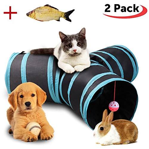 Aolan Cat Tunnel 3 Way Tunnels Extensible Collapsible Cat Play Tunnel Toy Maze Cat House with Pompon and Bells for Cat Puppy Kitten Rabbit with Cat Fish Catnip Toy by pawluv (Image #6)