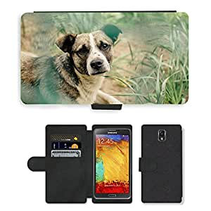 GoGoMobile Flip PU Leather Wallet Case with Credit Card Slots // M00118160 Animal Nature Dog Canine Mammal Pet // Samsung Galaxy Note 3 III N9000 N9002 N9005