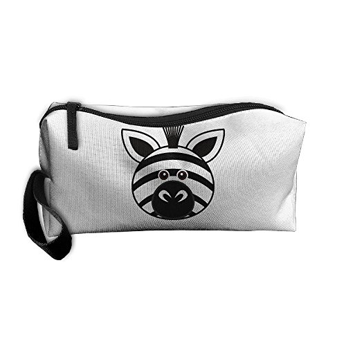 Funny Zebra Face Cosmetic Bags Brush Pouch Makeup Bag Zipper Wallet Hangbag Pen Organizer Carry Case Wristlet Holder -