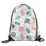 Yifui Knitting Sheep Butterflies Drawstring Bag For Traveling Or Shopping Casual Daypacks School Bags