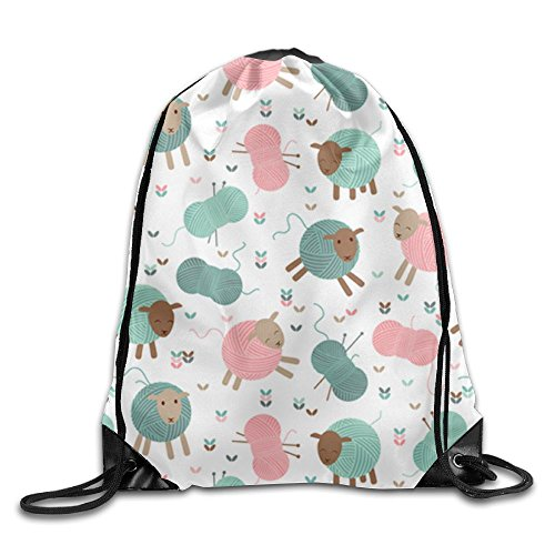 Cheap Yifui Knitting Sheep Butterflies Drawstring Bag For Traveling Or Shopping Casual Daypacks School Bags