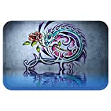 40 inch dragon wall fan - VROSELV Custom Door MatDragon Decor Collection Flower and Swirling Twiggy Dragon Figure on Wall Graffiti Inspired Art with Red Rose and Water Multi