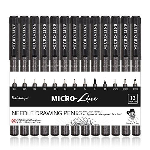 Dainayw Precision Micro-Line Pens, Fineliner, Multiliner - Assorted Fine Point, Brush & Calligraphy Tip Nibs,Waterproof Archival Ink Micro-Pen For Artist Illustration, Technical Drawing, 13 Pack,Black