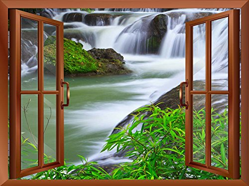 Wall26 - Waterfall in National Park of Thailand Removable Wall Sticker / Wall Mural - (Park Waterfall)