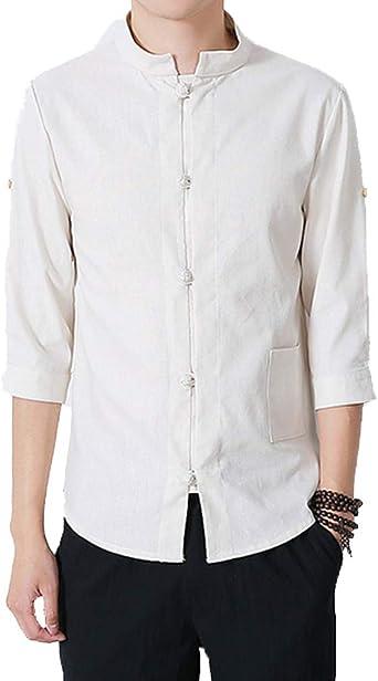 Camiseta Hombre, Clásico, Estilo Chino, Camisa de Kung Fu, Traje Tang, Ropa de Manga 3/4: Amazon.es: Ropa y accesorios