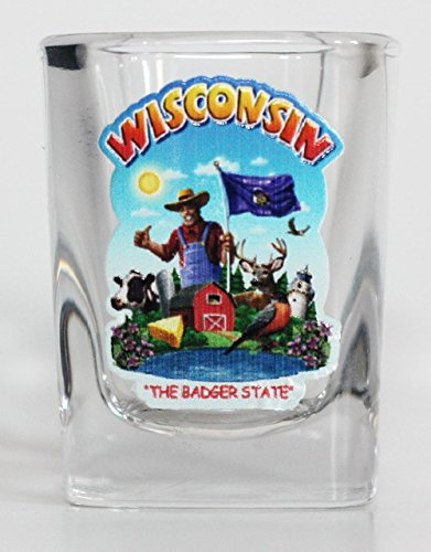 (Wisconsin State Montage Square Shot Glass)