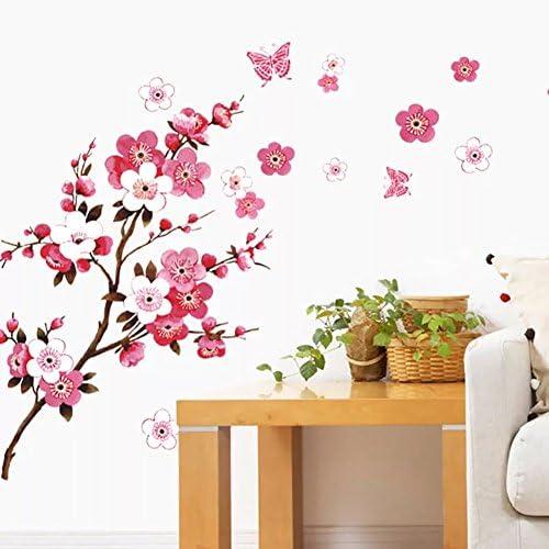 WandSticker4U®- Wandtattoo KIRSCHBLÜTE Rot I Wandbilder: 120x50cm I Wand-aufkleber Blumen Zweig Schmetterlinge Pfirsich Blüte Sakura I Deko für Wohnzimmer Schlafzimmer Küche Fenster Möbel