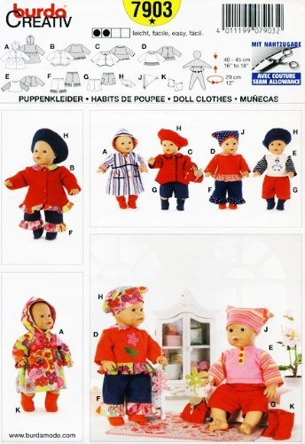 BURDA 7903 ~ DOLL CLOTHES SEWING PATTERN (BABY DOLLS 16