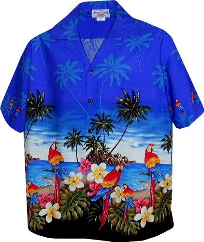 Pacific Legend Womens Parrots Beach Border Hawaiian Shirt (XL, Blue)