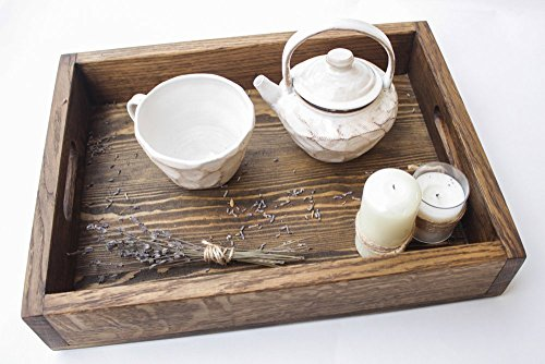 Large Wooden Serving Tray with Handles 20x12 Inch by WoodenStuff Wood Tea Tray Breakfast Coffee Ottoman Table Decorative Platter with Handle Rectangular Stand Kitchen Housewarming Gift (30 X Tray 30 Ottoman)