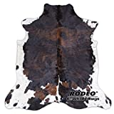 RODEO Amazing Cowhide Skin Rug Tricolor Brown Brown Chocolate Nutella Large Size