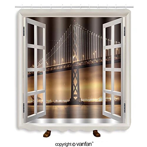 Vanfan designed Windows 159675431 New lights illuminate the Bay Bridge connecting Sa Shower Curtains,Waterproof Mildew-Resistant Fabric Shower Curtain For Bathroom Decoration Decor With Shower - Bridge Near Outlets Bay