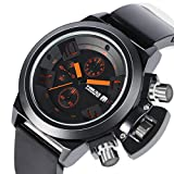 YISUYA Men Chronograph Wrist Watch Black Outdoor Sport Men's Water Resistant Stopwatch Date Display with Silicone Band Bracelet