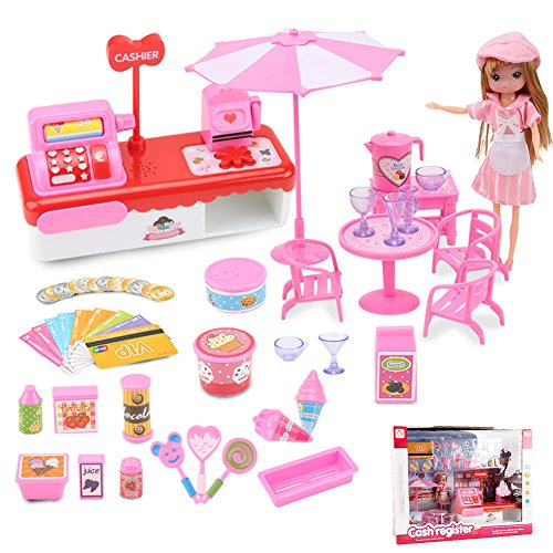 hier Toy Cash Register Playset Kids Supermarket Checkout Toy Ice-cream Truck Pretend Play set with Light & Sound ()