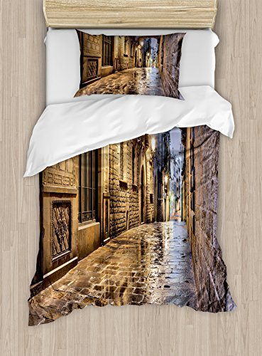 Lunarable City Duvet Cover Set Twin Size, Narrow Street Gothic Design Architecture Carrer del Bisbe Barcelona Spain Europe, Decorative 2 Piece Bedding Set with 1 Pillow Sham, Tan Pale Brown by Lunarable