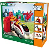 BRIO World - 33873 Smart Tech Engine Set with Action Tunnels | 17 Piece Train Toy with Accessories and Wooden Tracks for Kids Age 3 and Up