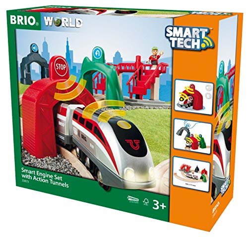 - BRIO World - 33873 Smart Tech Engine Set with Action Tunnels | 17 Piece Train Toy with Accessories and Wooden Tracks for Kids Age 3 and Up