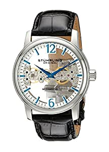Stuhrling Original Men's 841.01 Aristocrat Cardinal Mechanical Bridge Skeleton Silver Dial Watch