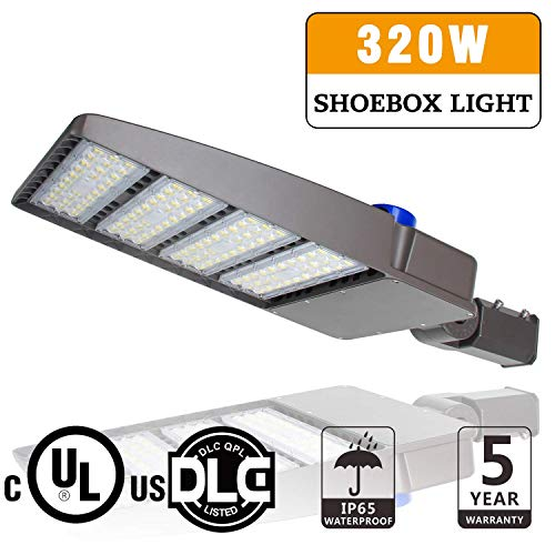 LED Parking Lot Lights, 320W Pole Mounted Shoebox Lights with Photocell Outdoor Commercial Street Area Security Lighting Fixture Slip Fitter - AC100~277V, 43200LM, 5700K, IP65, DLC UL Listed