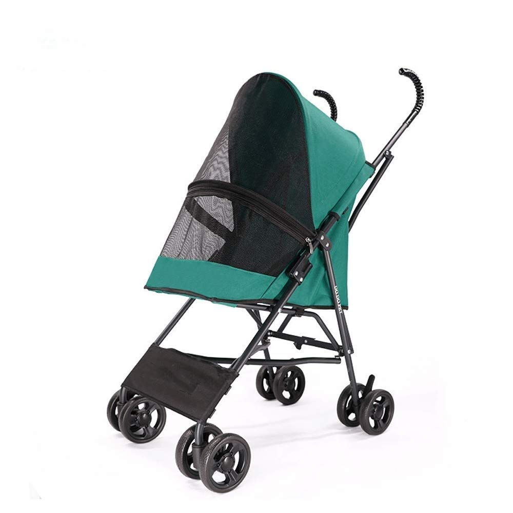 Green PETCAR Lightweight Pet Stroller Dog Cat Trolley Teddy Out Cart Free Inssizetion Fast Car (color   Green)