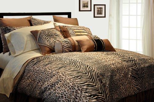 - Pointehaven 9-Piece 100-Percent Cotton Luxury Bedding Ensemble, Urban Safari, Twin