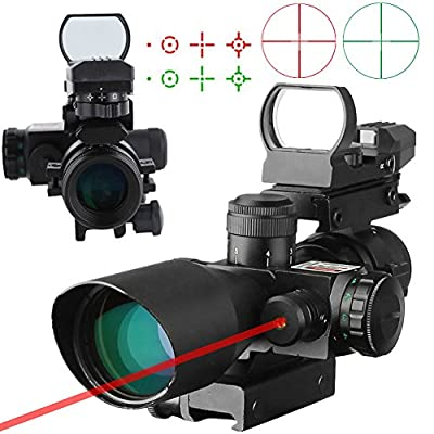 Beileshi 3-in-1 Useful 2.5-10x40 Tactical Rifle Scope Dual Illuminated Mil-dot with Red Laser w/ Rail Mount & 4 Reticle Holographic Green / Red Dot Sight from Beileshi