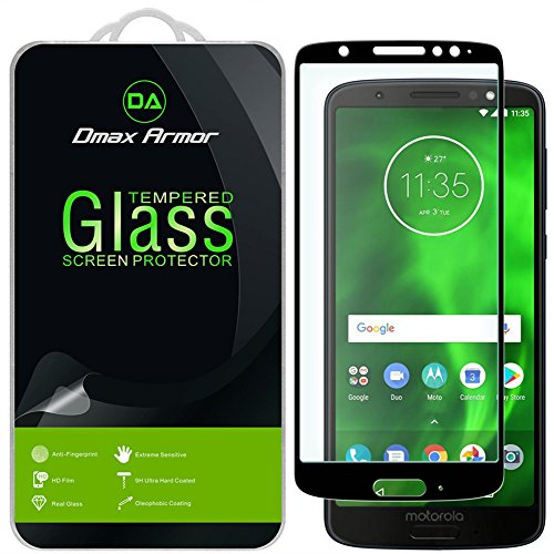 [2-Pack] Dmax Armor for Motorola Moto G6 [Tempered Glass] Screen Protector, (Full Screen Coverage) with Lifetime Replacement (Black)