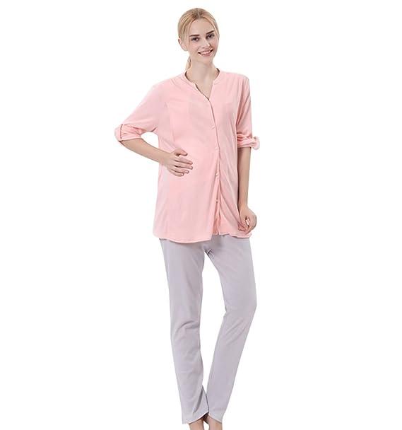 YAANCUN Pijama Conjunto de Maternidad Enfermería Pijama 2 Piezas Cuello Redondo Manga Larga Lactancia Pijama