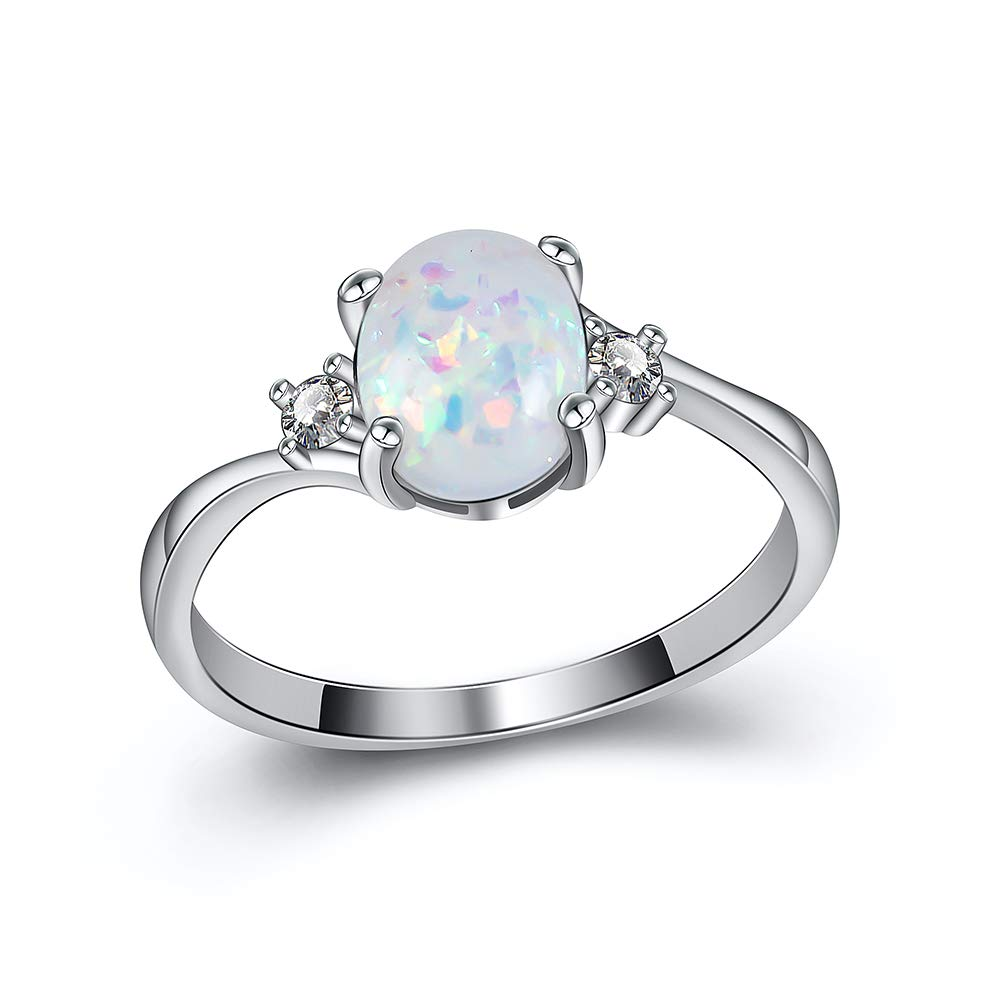 Honghu Women Opal Colorful Ring Jewelry Engagement Wedding Tarnish Resistant Eternity