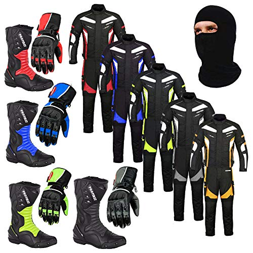 Balaclava Racing Touring Events Trouser Boots Jacket Gloves Mr.Pro A Full Set of Waterproof Motorbike Motorcycle Moped 2 Piece Suit in Cordura Fabric and CE Approved Armour