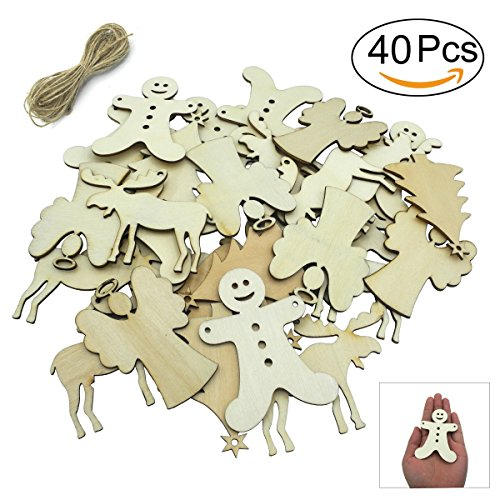 (Christmas Ornaments Unfinished Wood Pieces Hanging Ornaments Decoration 80 mm Christmas Tree, Reindeer, Angel, Gingerbread man - 40)
