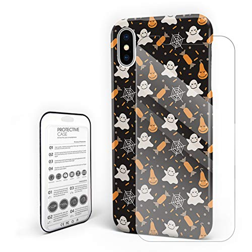 Cases Cover for iPhone X [Built-in Screen Protector] Slim Fit Hard Plastic Shell Full Protective Anti-Scratch Fingerprint Cover for Apple Phone 5.8 Inch - Happy Halloween Cute Ghost and Candy