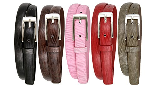 5pcs Womens Lizard Embossed Leather Casual Dress Skinny Waist Belt (Small) - Lizard Embossed Casual Belt