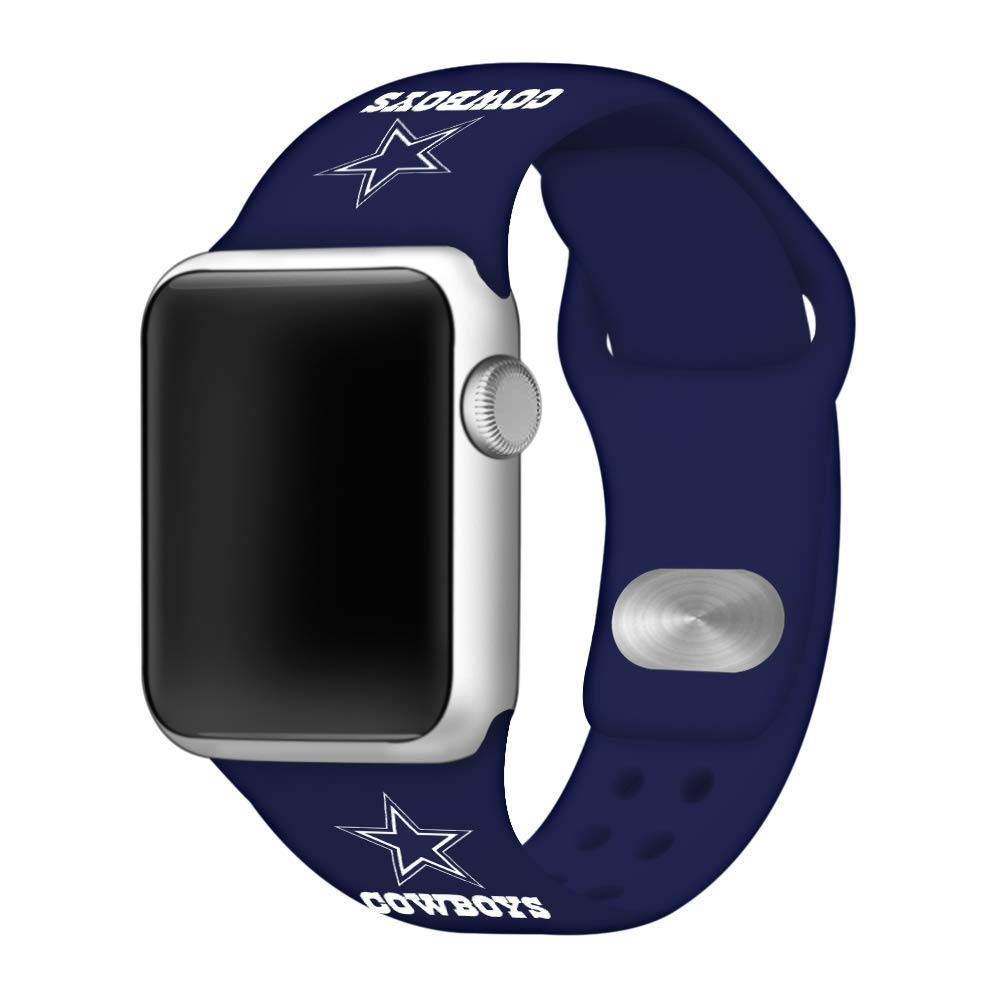 Game Time Dallas Cowboys Silicone Sport Band Compatible with Apple Watch (Navy Blue, 42mm/44mm)