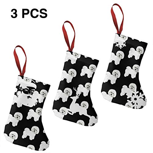 Bichon Frise Christmas Stockings Gift Card Bags Holders,Bulk Personalized Treats for Neighbors Coworkers Kids Cats Dogs,Small Rustic Felt Red Xmas Tree Decorations Set
