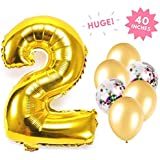 Number Balloon Gold Aluminum Foil Balloon Decoration for Birthday Graduation Wedding Anniversary Party Supplies Number 2