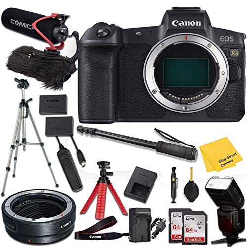 Canon EOS Ra Mirrorless Digital Camera (Body Only) + Mount Adapter EF-EOS R + Pro Accessory kit (Microphone w/Windshield, Tripods, TTL Flashlight, 2X 64GB Memory Cards and More)