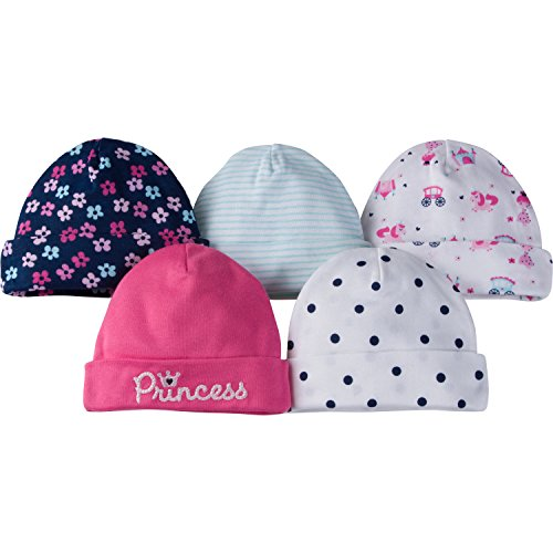 Gerber Baby Girls 5 Pack Cap, Princess, 0-6 Months
