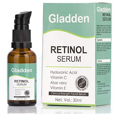 Gladden Retinol Serum with Hyaluronic Acid, Aloe Vera, Vitamin E – Boost Collagen Production, Reduce Wrinkles, Fine…