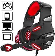 Dasking Audífono Gamer con Micrófono para PS4 XBOX ONE PC Auricular de Diadema para Juegos con LED Luz Control
