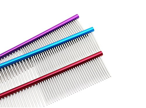 Hisoul Pet Comb, Puppy Grooming Professional Steel Grooming Comb for Removing Matted Fur, Knots & Tangles, for Dog Cat Cleaning Brush (red)