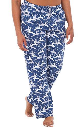 Alexander Del Rossa Womens Flannel Pajama Pants, Long Cotton Pj Bottoms, Medium Grey and White Reindeer - Long Pants Women Pajama