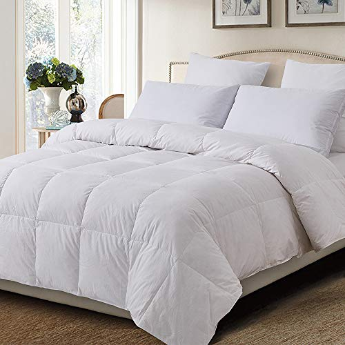 Decroom 100% Cotton Quilted Down Comforter with White Goose Duck Down Feather Filling-Lightweight and Hypoallergenic Duvet Insert- California King ()