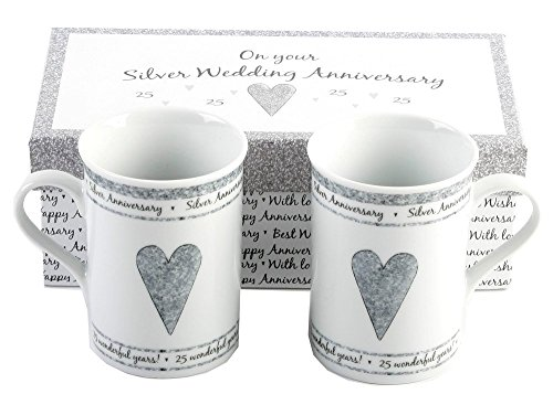 25th Silver Wedding Anniversary Gift Set Ceramic Mugs By Haysom Interiors -